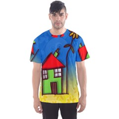 Colorful Illustration Of A Doodle House Men s Sport Mesh Tee by Nexatart