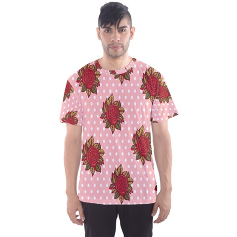 Pink Polka Dot Background With Red Roses Men s Sport Mesh Tee by Nexatart