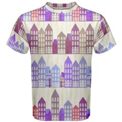 Houses City Pattern Men s Cotton Tee by Nexatart