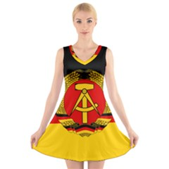 Flag Of East Germany V-neck Sleeveless Skater Dress by abbeyz71