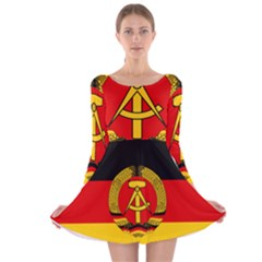 Flag Of East Germany Long Sleeve Velvet Skater Dress by abbeyz71