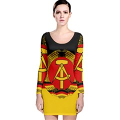 Flag Of East Germany Long Sleeve Velvet Bodycon Dress by abbeyz71