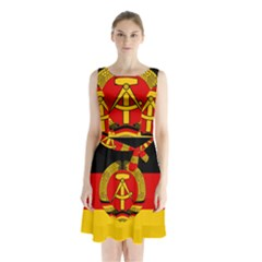 Flag Of East Germany Sleeveless Chiffon Waist Tie Dress by abbeyz71