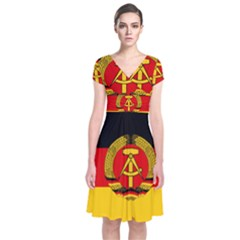 Flag Of East Germany Short Sleeve Front Wrap Dress by abbeyz71