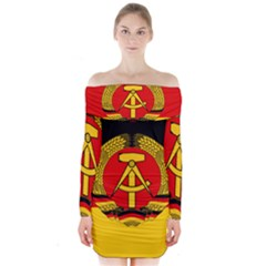 Flag Of East Germany Long Sleeve Off Shoulder Dress by abbeyz71