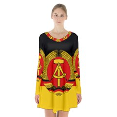Flag Of East Germany Long Sleeve Velvet V-neck Dress by abbeyz71