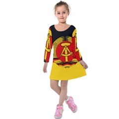 Flag Of East Germany Kids  Long Sleeve Velvet Dress by abbeyz71