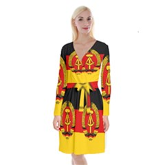 Flag Of East Germany Long Sleeve Velvet Front Wrap Dress by abbeyz71