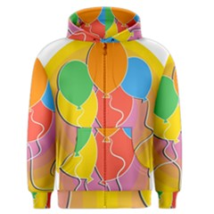 Birthday Party Balloons Colourful Cartoon Illustration Of A Bunch Of Party Balloon Men s Zipper Hoodie by Nexatart