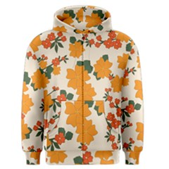 Vintage Floral Wallpaper Background In Shades Of Orange Men s Zipper Hoodie by Nexatart