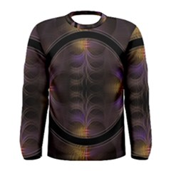 Wallpaper With Fractal Black Ring Men s Long Sleeve Tee by Nexatart