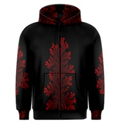 Dendron Diffusion Aggregation Flower Floral Leaf Red Black Men s Zipper Hoodie by Mariart