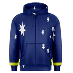 Flag Star Blue Green Yellow Men s Zipper Hoodie by Mariart
