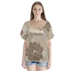 Flower Floral Grey Rose Leaf Flutter Sleeve Top by Mariart