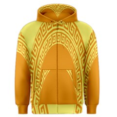 Greek Ornament Shapes Large Yellow Orange Men s Zipper Hoodie by Mariart