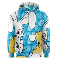 Easter Bunny And Chick  Men s Zipper Hoodie by Valentinaart