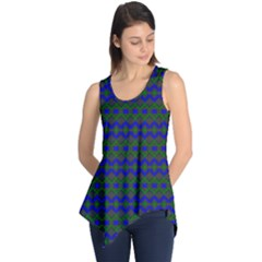 Split Diamond Blue Green Woven Fabric Sleeveless Tunic by Mariart