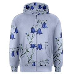 Floral Blue Bluebell Flowers Watercolor Painting Men s Zipper Hoodie by Nexatart
