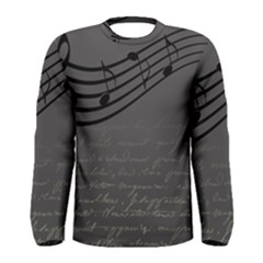 Music Clef Background Texture Men s Long Sleeve Tee by Nexatart