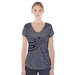 Music Clef Background Texture Short Sleeve Front Detail Top by Nexatart