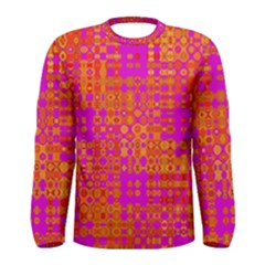 Pink Orange Bright Abstract Men s Long Sleeve Tee by Nexatart