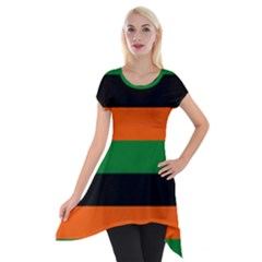 Color Green Orange Black Short Sleeve Side Drop Tunic by Mariart