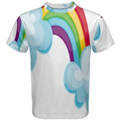 Could Rainbow Red Yellow Green Blue Purple Men s Cotton Tee by Mariart
