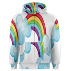 Could Rainbow Red Yellow Green Blue Purple Men s Zipper Hoodie by Mariart
