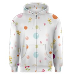Flower Floral Star Balloon Bubble Men s Zipper Hoodie by Mariart