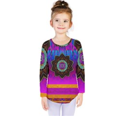 Air And Stars Global With Some Guitars Pop Art Kids  Long Sleeve Tee by pepitasart