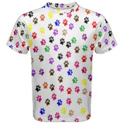 Paw Prints Dog Cat Color Rainbow Animals Men s Cotton Tee by Mariart