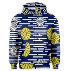 Sunflower Line Blue Yellpw Men s Zipper Hoodie by Mariart