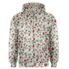 Strawberry Pattern Men s Zipper Hoodie by Valentinaart