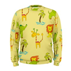 Cute Animals Elephant Giraffe Lion Men s Sweatshirt by Mariart