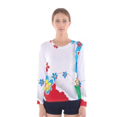Flower Floral Papper Butterfly Star Sunflower Red Blue Green Leaf Women s Long Sleeve Tee by Mariart