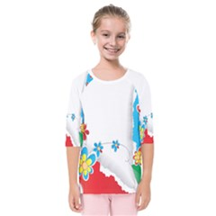 Flower Floral Papper Butterfly Star Sunflower Red Blue Green Leaf Kids  Quarter Sleeve Raglan Tee by Mariart