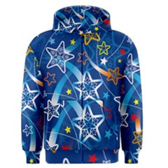 Line Star Space Blue Sky Light Rainbow Red Orange White Yellow Men s Zipper Hoodie by Mariart