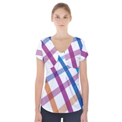 Webbing Line Color Rainbow Short Sleeve Front Detail Top by Mariart