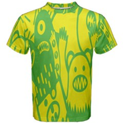 Easter Monster Sinister Happy Green Yellow Magic Rock Men s Cotton Tee by Mariart