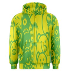 Easter Monster Sinister Happy Green Yellow Magic Rock Men s Zipper Hoodie by Mariart