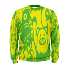 Easter Monster Sinister Happy Green Yellow Magic Rock Men s Sweatshirt by Mariart
