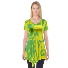 Easter Monster Sinister Happy Green Yellow Magic Rock Short Sleeve Tunic  by Mariart