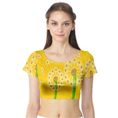 Leaf Flower Floral Sakura Love Heart Yellow Orange White Green Short Sleeve Crop Top (tight Fit) by Mariart