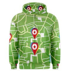 Map Street Star Location Men s Zipper Hoodie by Mariart