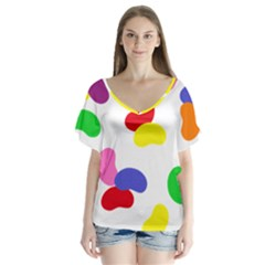 Seed Beans Color Rainbow Flutter Sleeve Top by Mariart