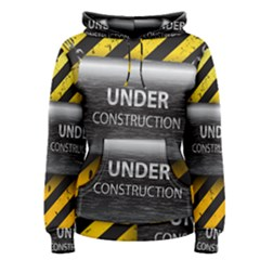 Under Construction Sign Iron Line Black Yellow Cross Women s Pullover Hoodie by Mariart