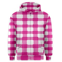 Hot Pink Brush Stroke Plaid Tech White Men s Zipper Hoodie by Mariart