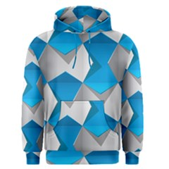 Blue White Grey Chevron Men s Pullover Hoodie by Mariart