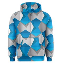 Blue White Grey Chevron Men s Zipper Hoodie by Mariart
