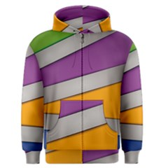 Colorful Geometry Shapes Line Green Grey Pirple Yellow Blue Men s Zipper Hoodie by Mariart